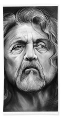 Robert Plant Beach Towel by Greg Joens