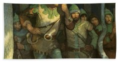 Robin Hood And His Merry Men Beach Sheet by Newell Convers Wyeth