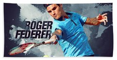 Roger Federer Beach Sheet by Semih Yurdabak