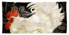 Rooster Damask Dark Beach Towel by Mindy Sommers