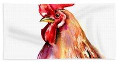 Rooster Portrait Beach Towel by Suren Nersisyan