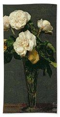 Roses In A Champagne Flute Beach Towel by Ignace Henri Jean Fantin-Latour