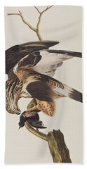 Rough Legged Falcon Beach Towel by John James Audubon