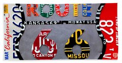 Route 66 Highway Road Sign License Plate Art Beach Towel by Design Turnpike