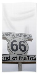 Route 66 Santa Monica- By Linda Woods Beach Sheet by Linda Woods