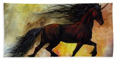 Rust Unicorn Beach Towel by Stanley Morrison