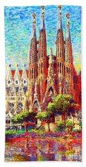 Sagrada Familia Beach Towel by Jane Small