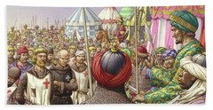 Saladin Orders The Execution Of Knights Templars And Hospitallers  Beach Towel by Pat Nicolle