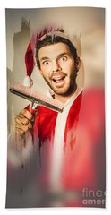 Santa Elf Preparing For Christmas Beach Towel by Jorgo Photography - Wall Art Gallery