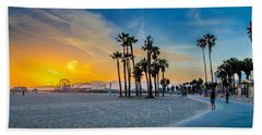 Santa Monica Sunset Beach Towel by Az Jackson
