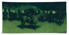 Scare In A Pack Train Beach Sheet by Frederic Remington