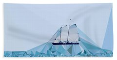 Schooner, Abstracted Beach Towel by Sandy Taylor
