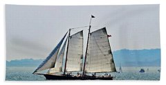 Schooner On New York Harbor No. 3 Beach Towel by Sandy Taylor