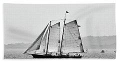 Schooner On New York Harbor No. 3-1 Beach Sheet by Sandy Taylor