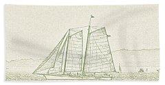 Schooner On New York Harbor No. 3-2 Beach Towel by Sandy Taylor