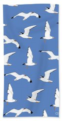 Seagulls Gathering At The Cricket Beach Towel by Elizabeth Tuck