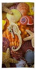 Seahorse And Assorted Sea Shells Beach Towel by Garry Gay