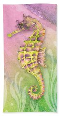 Seahorse Violet Beach Sheet by Amy Kirkpatrick