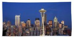 Seattle At Dusk Beach Sheet by Adam Romanowicz