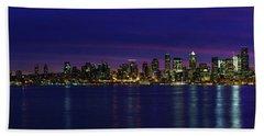 Seattle Cityscape Sunrise Panorama Light Beach Sheet by Mike Reid