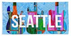 Seattle Music Scene Beach Towel by Edward Fielding