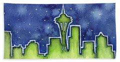 Seattle Night Sky Watercolor Beach Towel by Olga Shvartsur