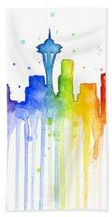 Seattle Rainbow Watercolor Beach Towel by Olga Shvartsur