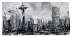 Seattle Skyline Painting Watercolor  Beach Towel by Olga Shvartsur