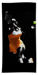 Serena Williams Putting It In Beach Sheet by Brian Reaves