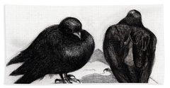 Serious Pigeon Situation Beach Towel by Nancy Moniz