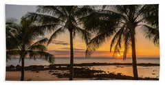 Sharks Cove Sunset 4 - Oahu Hawaii Beach Sheet by Brian Harig