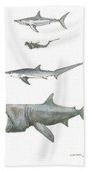 Sharks In The Deep Ocean Beach Towel by Juan Bosco