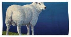 Sheep At The Edge Beach Towel by James W Johnson
