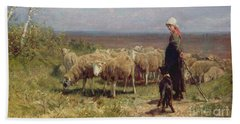 Shepherdess Beach Sheet by Anton Mauve