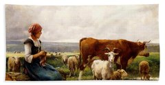 Shepherdess With Cows And Goats Beach Towel by Julien Dupre