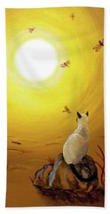 Siamese Cat With Red Dragonflies Beach Towel by Laura Iverson