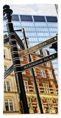 Signpost In London Beach Towel by Elena Elisseeva