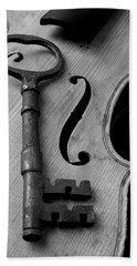 Skeleton Key On Violin Beach Towel by Garry Gay