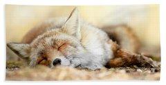 Sleeping Beauty -red Fox In Rest Beach Sheet by Roeselien Raimond