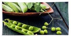Snow Peas Or Green Peas Still Life Beach Towel by Vishwanath Bhat