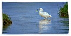 Snowy Egret At Dinner Beach Towel by Rick Berk