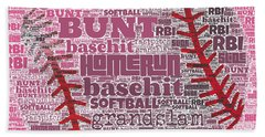 Softball  Beach Towel by Brandi Fitzgerald