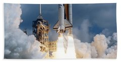 Space Shuttle Launching Beach Towel by Stocktrek Images