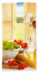 Spaghetti And Tomatoes In Country Kitchen Beach Sheet by Amanda Elwell