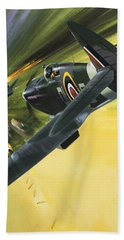 Spitfire And Doodle Bug Beach Sheet by Wilf Hardy