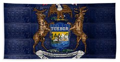 State Of Michigan Flag Recycled Vintage License Plate Art Version 1 Beach Sheet by Design Turnpike