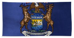 State Of Michigan Flag Recycled Vintage License Plate Art Version 2 Beach Sheet by Design Turnpike