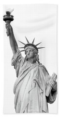 Statue Of Liberty, Black And White Beach Towel by Sandy Taylor