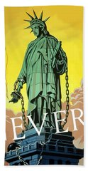 Statue Of Liberty In Chains -- Never Beach Towel by War Is Hell Store