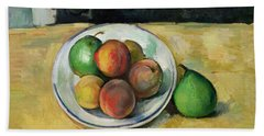Still Life With A Peach And Two Green Pears Beach Sheet by Paul Cezanne